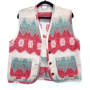 Vintage Red Green Winter Vest